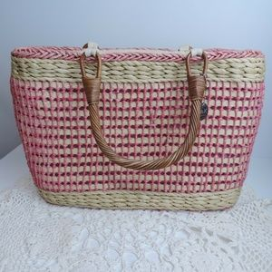 The Sak Basket Woven Pink Tote Wooden Handles
